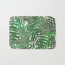 Tropical leaves : Green grey Bath Mat