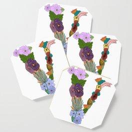 Floral Letter V Coaster