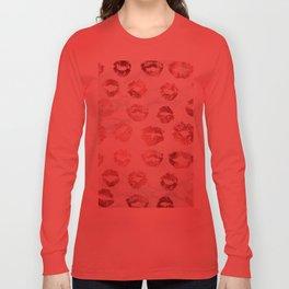 Fashion Lips Rose Gold Lipstick on Marble Long Sleeve T-shirt