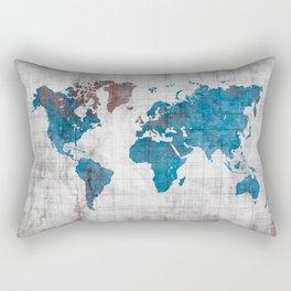 world map 96 blue #worldmap #map Rectangular Pillow