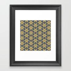 Flower Pattern Yellow/Blue Framed Art Print