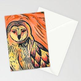 Orange owl lino print, bird of prey lino print Stationery Cards