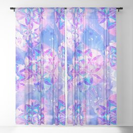 Flower-of-Life Paint Pattern Blue Sheer Curtain