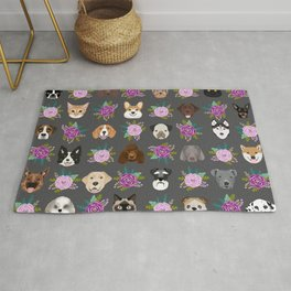 Dogs and cat breeds pet pattern cute faces corgi boston terrier husky airedale Rug