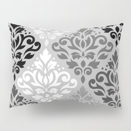 Scroll Damask Ptn Art BW & Grays Pillow Sham