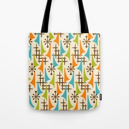 Retro Mid Century Modern Atomic Wing Pattern 421 Brown Orange Turquoise and Olive Green Tote Bag