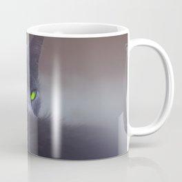 Black Cat with Green Eyes Coffee Mug