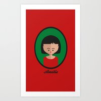 amelie Art Prints featuring Amelie by Juliana Motzko