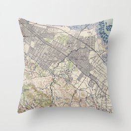 Old Map of Palo Alto & Silicon Valley CA (1943) Throw Pillow