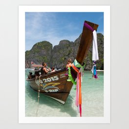 Long Tail Boat, Maya Bay, Ko Phi Phi Lee Island, Thailand Art Print