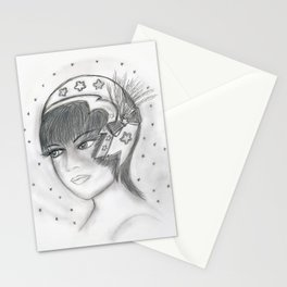 Starry Flapper in Black and White Stationery Cards