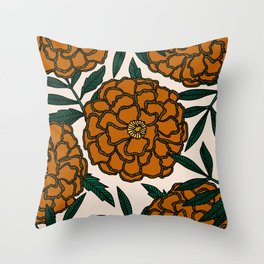 Orange Marigolds Throw Pillow