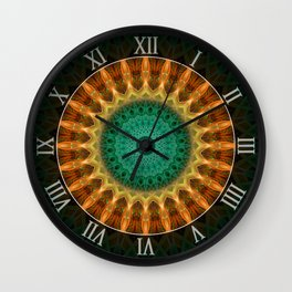 Mandala with green, brown and golden ornaments Wall Clock