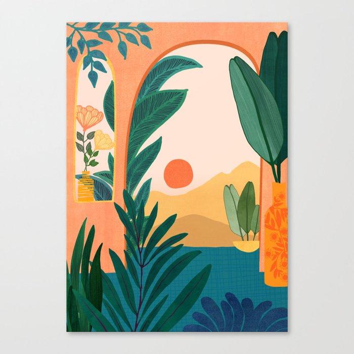 Santa Fe Oasis / Desert Landscape with Plants Canvas Print