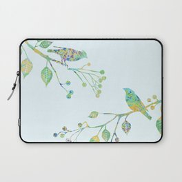 Birds on Branches Love Bird Couple Vintage Floral Pattern Green Yellow Blue Laptop Sleeve