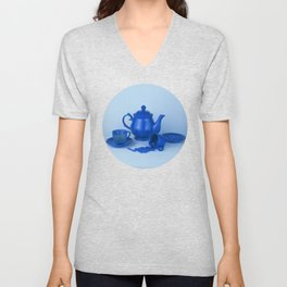 Blue tea party madness - still life Unisex V-Neck