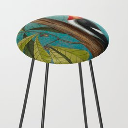 Red Headed Woodpecker with Oak, Natural History and Botanical collage Counter Stool