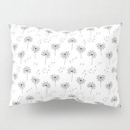 Dandelions in Black Pillow Sham