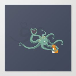 Octopus Loves Kitty Canvas Print