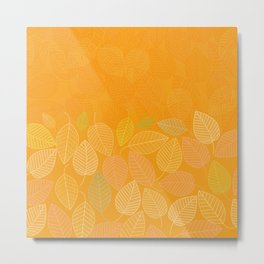 LEAVES ENSEMBLE ORANGE YELLOW Metal Print