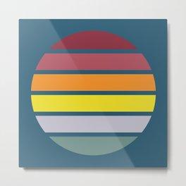 Classic Abstract Retro Striped Summer Sunset Circle - Emigiku Metal Print