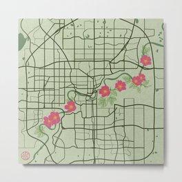 Edmonton Map with Wild Roses Metal Print