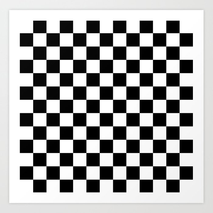 Checkered Flag Rug: Race Flag Black And White Checkerboard Art Print By