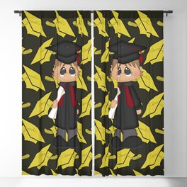 Cute Little Graduation Boy Blackout Curtain