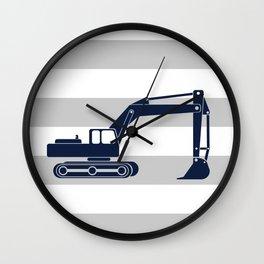 excavator navy Wall Clock