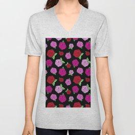 Rockabilly Roses in Black Unisex V-Neck
