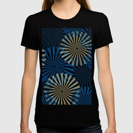 Modern Abstract Fireworks Pinwheel Line Art in Classic Blue and Warm Beige T-shirt