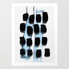 black white blue Art Print