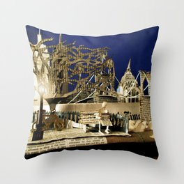 Reading the Newspaper in the Park | Sculpture Photo Throw Pillow