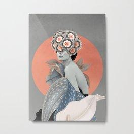 In Her Garden Metal Print