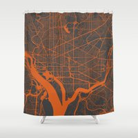 washington Shower Curtains featuring Washington Map by Map Map Maps