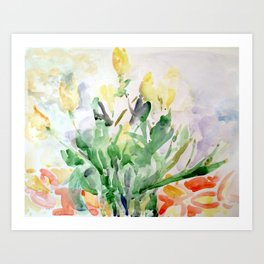 Yellow Tulips on Salmon Table Art Print