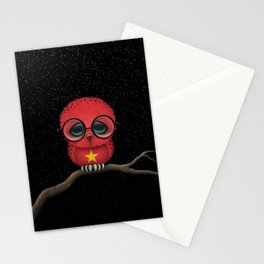 Baby Owl with Glasses and Vietnamese Flag Stationery Cards