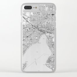 Vintage Map of Jacksonville Florida (1950) BW Clear iPhone Case