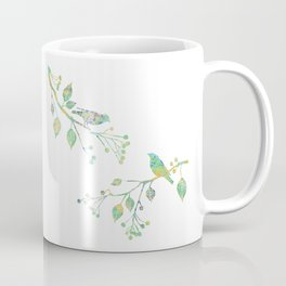 Birds on Branches Love Bird Couple Vintage Floral Pattern Green Yellow Blue Coffee Mug