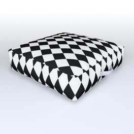 Classic Black and White Harlequin Diamond Check Outdoor Floor Cushion