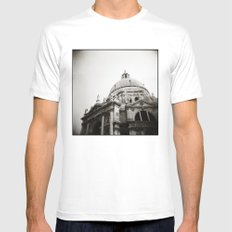 { basilica } White Mens Fitted Tee MEDIUM