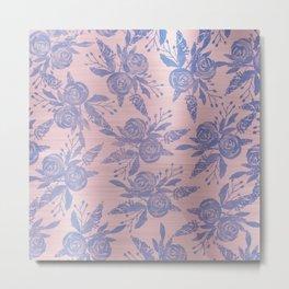 Modern Classic Blue Metallic Pink Gradient Floral Metal Print
