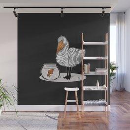Pelican & Goldfish Bowl, Funny Animal Illustration, Black and White Cute Bird & Fish Graphic Design Wall Mural