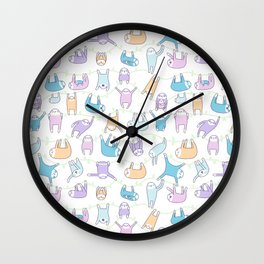 Lazy Sloths Doodle - Pastel and Kawaii Wall Clock