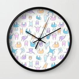 Lazy Sloths Doodle - Pastel and Kawaii Wall Clock