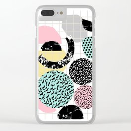 Amped - retro memphis throwback 80s style grid dots painting cut paper Clear iPhone Case