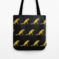 trex Tote Bags featuring Golden T.Rex Pattern by chobopop