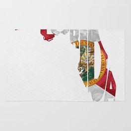 Florida Typographic Flag Map Art Rug