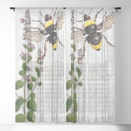 Cottage Style Thyme, Bumble Bee, Hummingbird, Herbal Botanical Illustration Sheer Curtain