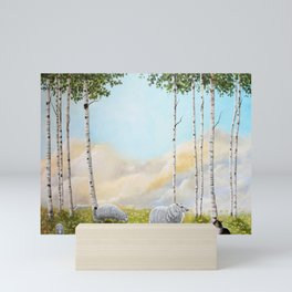 Afternoon on the Hill Birch Tree Painting Mini Art Print